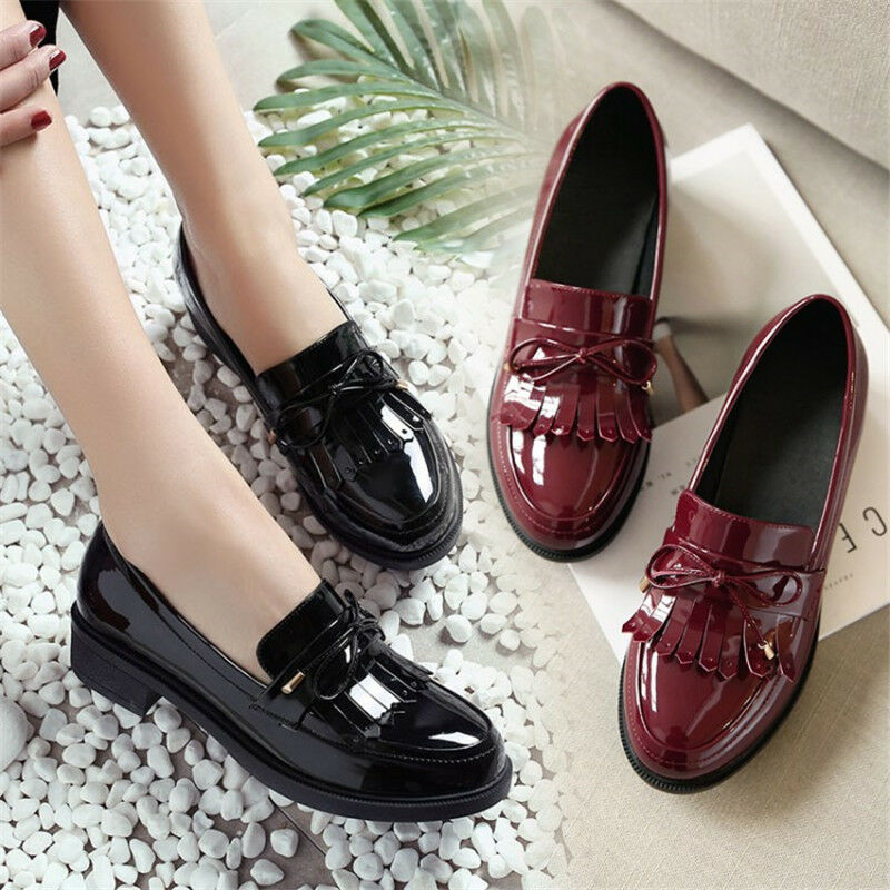 Retro Women's Tassel Oxfords Patent Leather Round Toe Chunky Heel Casual Shoes