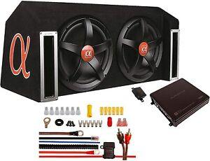"""ALPHASONIK APP122 Complete 1500W Dual 12"""" Subwoofers Amplifier Car Bass Package"""