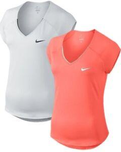 Details zu Nike Damen Stretch Dri Fit Sport Fitness Tennis Shirt Court Pure Top 728757 Neu