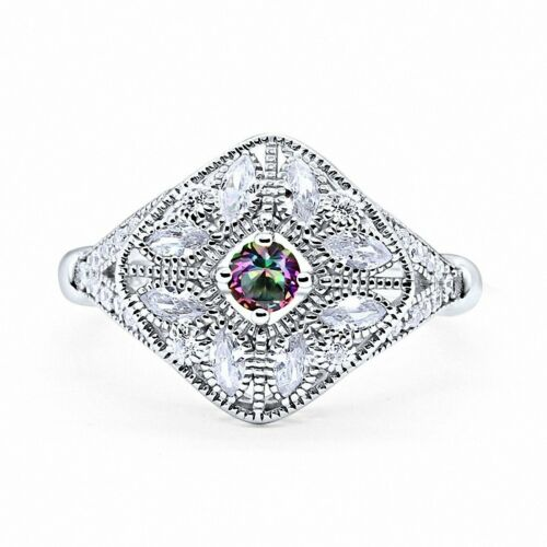 Art Deco Ring Marquise Filigree Round CZ 925 Sterling Silver Choose Color