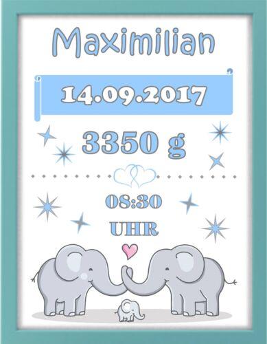 "Bilderrahmen personalisiert Geschenk Geburt Baby /""Elefanten/"" blau Taufe"