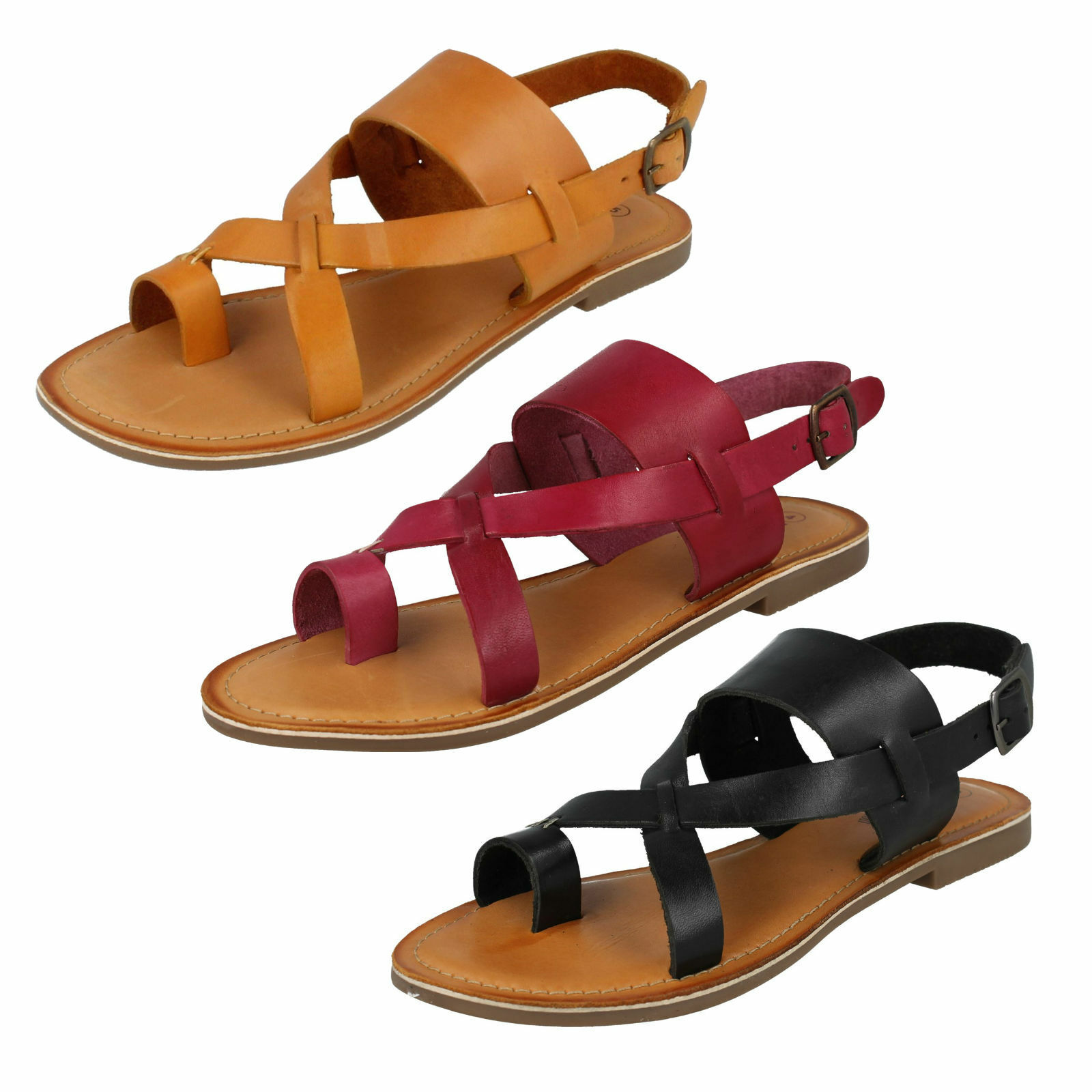LADIES LEATHER COLLECTION STRAPPY TOE LOOP BUCKLE SLING BACK SANDALS F0R0127