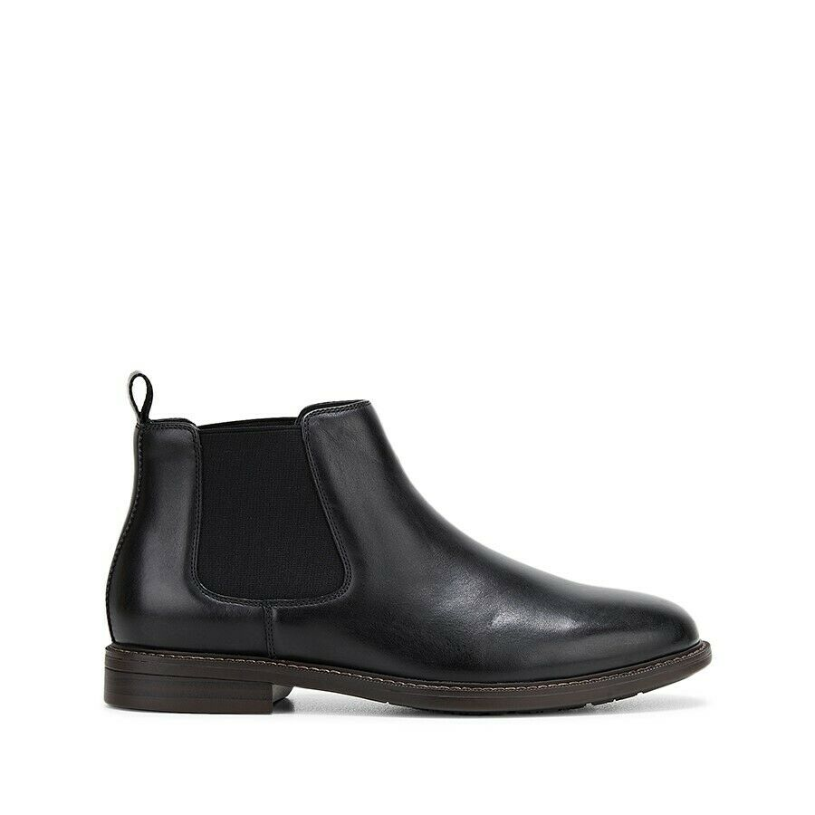 Hush Puppies Hanger Boots Mens Slip On Pull Shoes Leather Black Boot