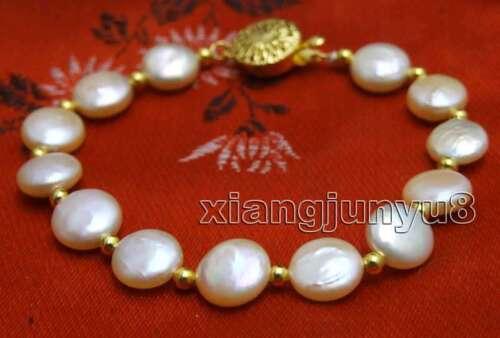 "Fashion Big 9-10 mm Coin Rond Rose Natural Freshwater Pearl 7.5/"" Bracelet-br378"