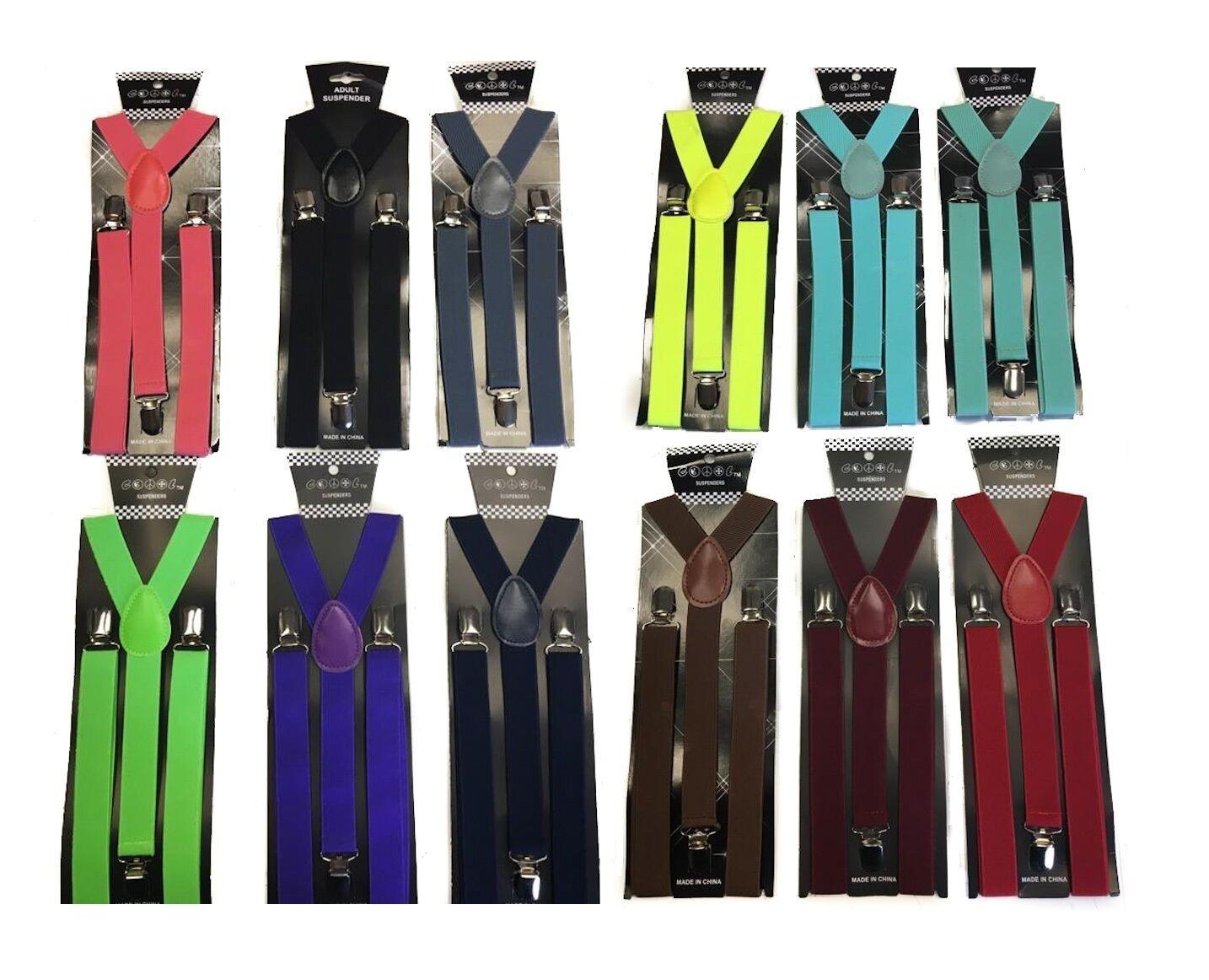 12 Colors Sexy Mens Womens Clip-on Suspenders Elastic Y-Shape Adjustable Braces