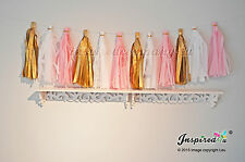 Tissue paper tassel garland pink white gold wedding birthday party venue decor