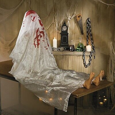 Halloween PLASTIC BLOODY JOHN DOE Prop Sound Activated Lawn Graveyard Decoration