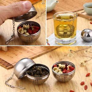 Teeei-Teekugel-Teeball-Tee-Teesieb-Teefilter-Edelstahl-Gewuerzkugel-2-Groessen