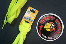 "Neon Yellow Thin Flat 27"" x (3/8""-5/8"") JN Shoelaces Shoe Strings Piranha"