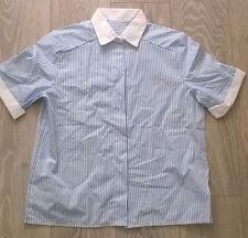 Ladies uniform tunic  Cleaner Carer Nurse Salon Blue white stripe Size 16 NEW