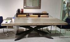 "95"" L dining table industrial design concrete cement top black iron legs unique"