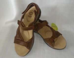 sandals-shoes-size-10-Leather-upper-brown-comfort-womens-adjustable-straps