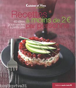 Livre recettes moins de 2 euros par personne 40 recettes pour cuisiner malin ebay - Cuisiner pour une personne ...