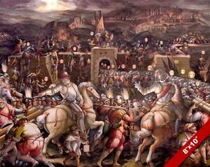 storming the fortress seige of siena italy war painting art real
