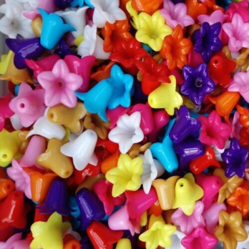 30 Opaque Acrylic Petunia Flowers Mixed Colour or White EE