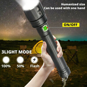 Ultra Bright LED Flashlight 200000LM XHP90.2 Rechargeable 3 Modes Zoom Torch