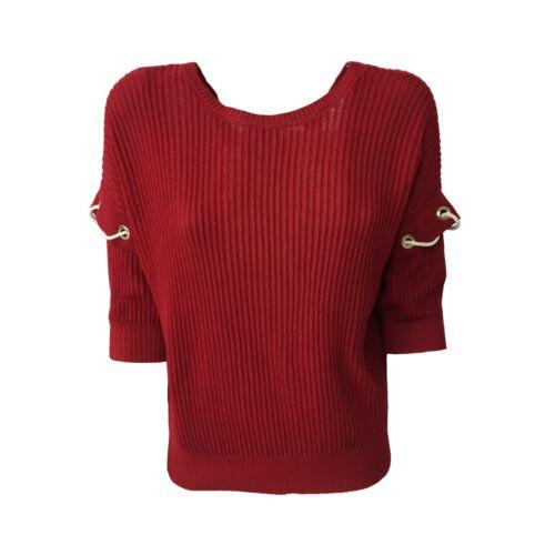 Pennyblack Mezza Odette Scuro Rosso Donna Mod Manica 100 Maglia Cotone Dietro rB7wqrTE