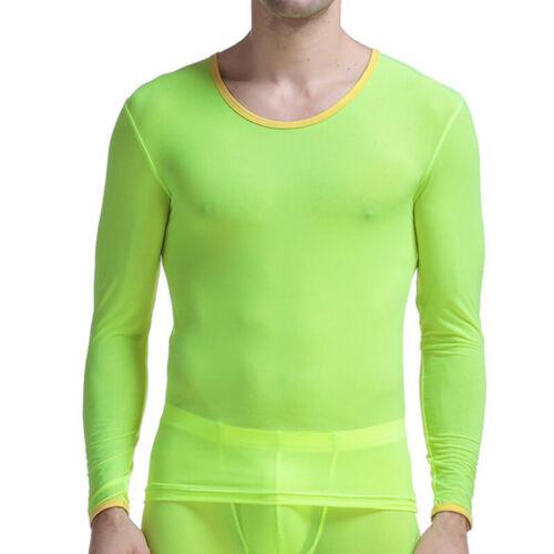 Herren Thermo Unterwäsche Long Tops Stretch Langarm T-Shirt Ice Silk Winter
