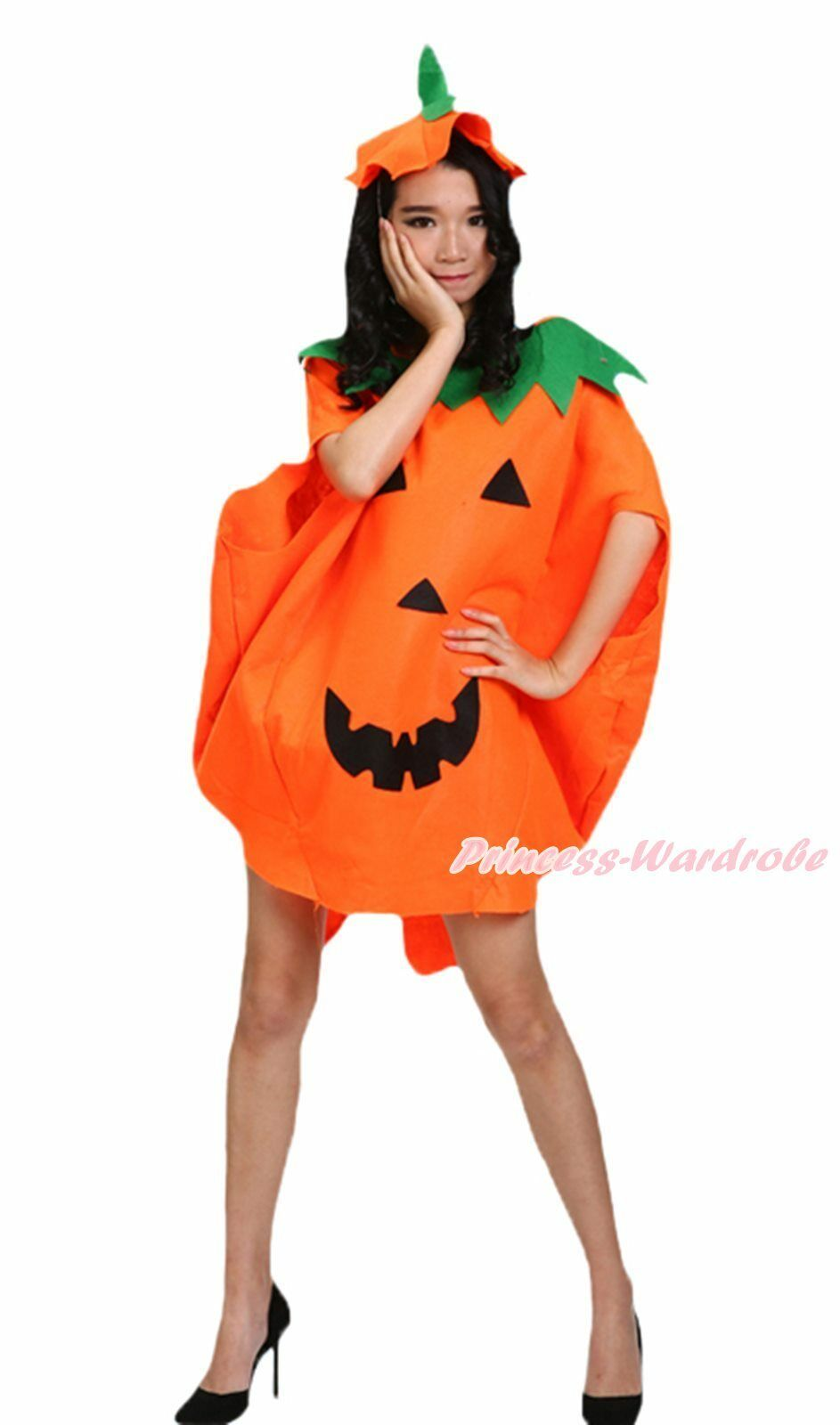 Halloween Party Cute Orange Pumpkin 3pc Adult Unisex Costume Cosplay Handbag Bag