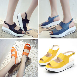 a00287e11fa Image is loading Women-Sports-Wedge-Sandals-Walking-Platform-PU-Leather-