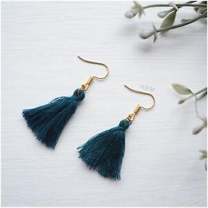 New Boho Gold Tone Tassel Tassle Fringe Earrings Round Hoop Colours Uk Seller