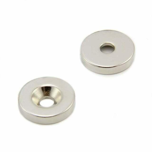 x1 Ø25 x 5mm N42 Neodymium Magnet 11.2kg Pull Ø6mm c//sink hole North