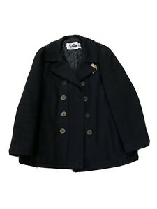 Mens-44-Schott-NYC-Black-Wool-Pea-Coat-Quilted-Liner-Embroidered-Made-In-USA
