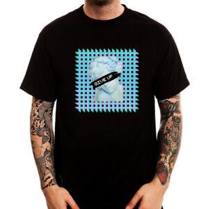 Vaporwave-Give-Up-Sad-Statue-Retro-Future-Printed-Cotton-Men-039-s-T-Shirt-Top-Tee