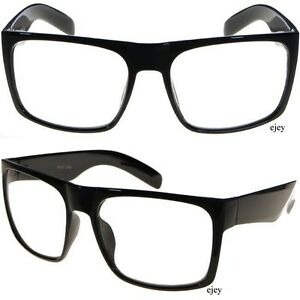 Big Black Frame Nerd Glasses : OVERSIZE Retro Clear Lens Eye Glasses Big Bold Black Frame ...