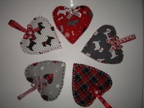 Handmade Scotty Dog Fabric Christmas Hanging Heart Tree  Decoration Pack of Five