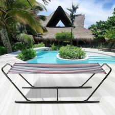 iKayaa Outdoor Portable Hammock w/Steel Stand Camping Beach Single Hammock Q6K2