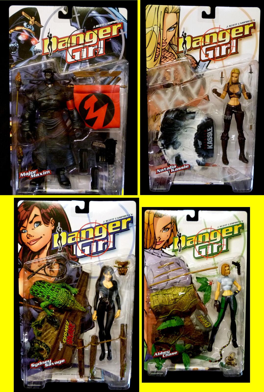 McFarlane Toys Danger Girl Campbell 4 Action Figure Set nouveau  1999 Abbey Chase  haute qualité générale