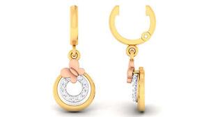 Pave-0-18-Cts-Runde-Brilliant-Cut-Diamanten-Baumeln-Ohrringe-In-585-14K-Gelbgold