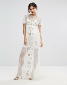 3598acc8f3d2b Image is loading Boohoo-Embroidered-Mesh-Overlay-Maxi-Dress-White-Uk-
