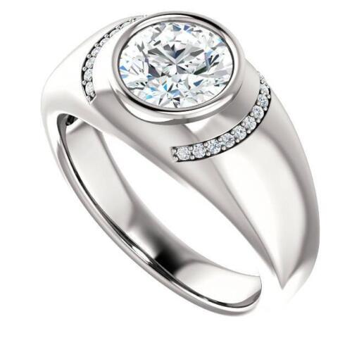 2 Ct Near White Moissanite Bezel Engagement Ring 925 Sterling Silver All Size