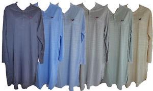 Herren-Nachthemd-verschiedene-Farben-kariert-Rundhals-Langarm-Gr-M-L-XL-XXL