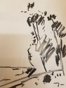 "JOSE TRUJILLO - Modernist Original Charcoal Paper Sketch Drawing 12"" DECORATIVE"