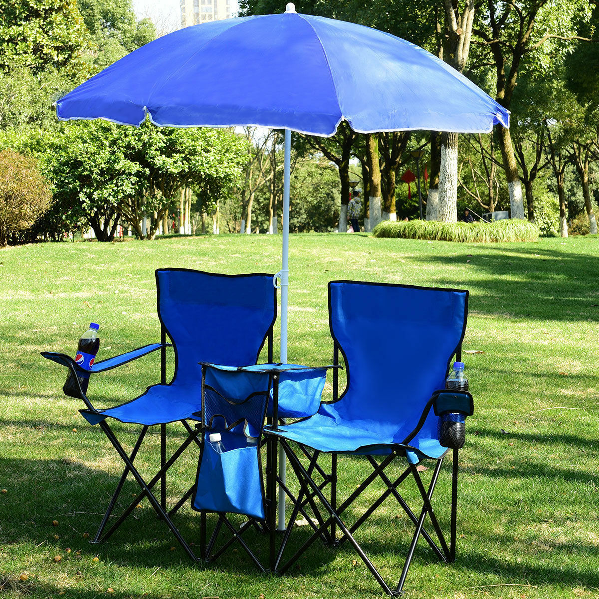 Portable Folding Outdoor Double-Chair w  Removable Umbrella Table Cooler - bluee