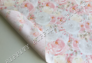 DOUBLE SIDED ROSE PINK /& GREY  FLORAL PRINTED FABRIC SHEET..HAIR BOWS CRAFTS