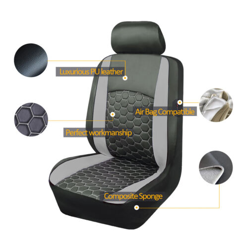 6 PCS 2 Front Universal Seat Covers Faux Leather Gray fit Car TruckSUV van