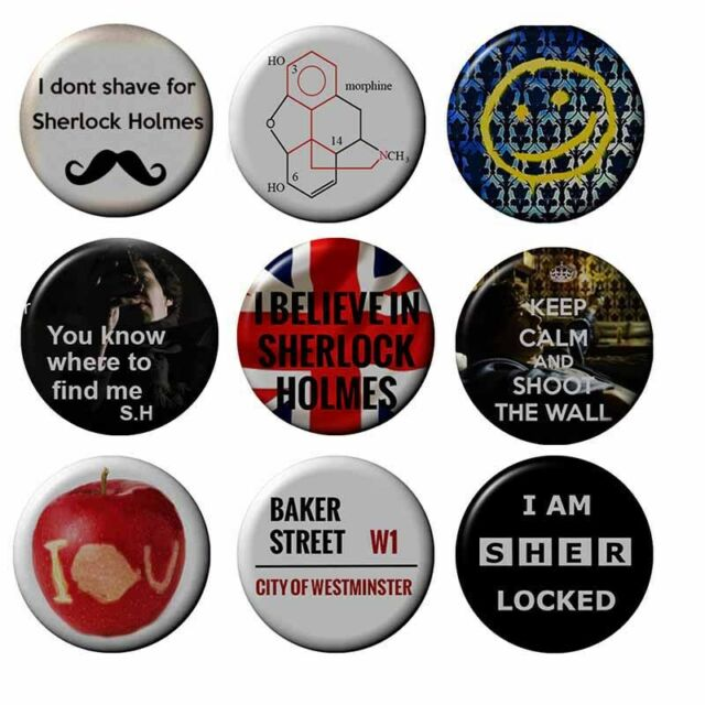 Sherlock Badges Various Holmes BBC 2.5 cm Button Cumberbatch HandCrafted
