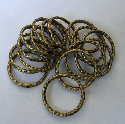 10pcs-Link Connector Flat Round Textured Antique Bronze Double Side.