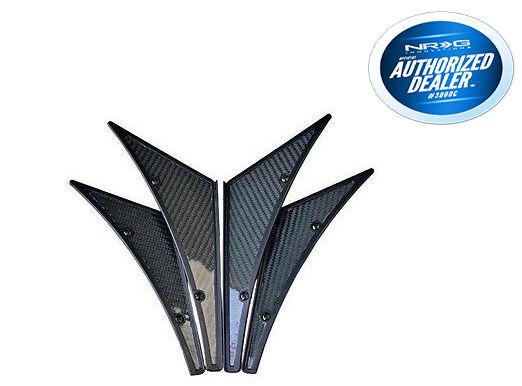 NRG CARB-C100 Universal Carbon Fiber 4-pc Canards Kit For Car Front /& Real Bumper