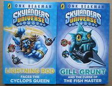SKYLANDERS UNIVERSE-2 BOOKS-ONK BEAKMAN-LIGHTNING ROD+GILL GRUNT
