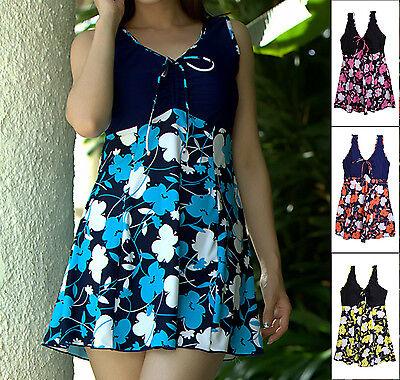 Ladies Women Swimwear One Piece Swimdress Tankini AU Size 14 16 18 20 22 24 3009