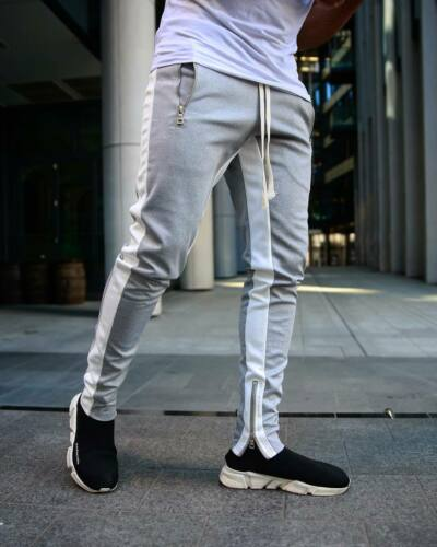Men/'s Gym Joggers Pants Fitness Casual Slim Fit Workout Sweatpants Zipper Pocket