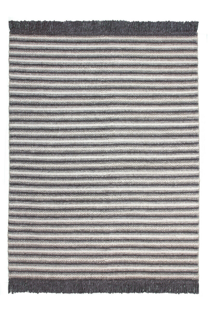 FLACHFLOR Tapis Modern Franges Viscose confectionnées Natural anthracite 80x150cm