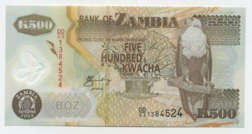 Polymer Lot 5 PCS P-43h Zambia 500 Kwacha UNC 2011 banknote