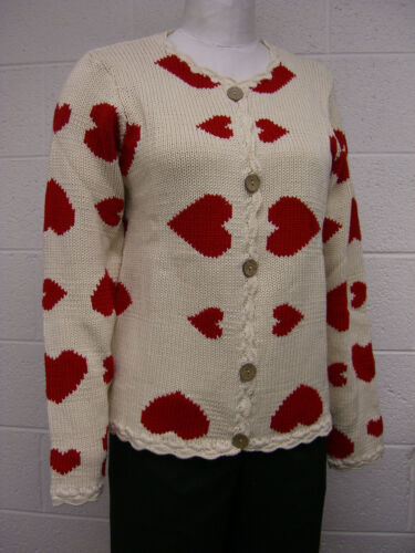 NORM THOMPSON LONG SLV INTARSIA HEART DESIGN Cardigan Sweater 7337 KNIT IN