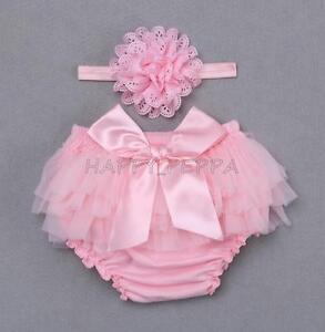 Headband Outfits Set Newborn Baby Girl Bloomer Tutu Ruffle Nappy Diaper Covers